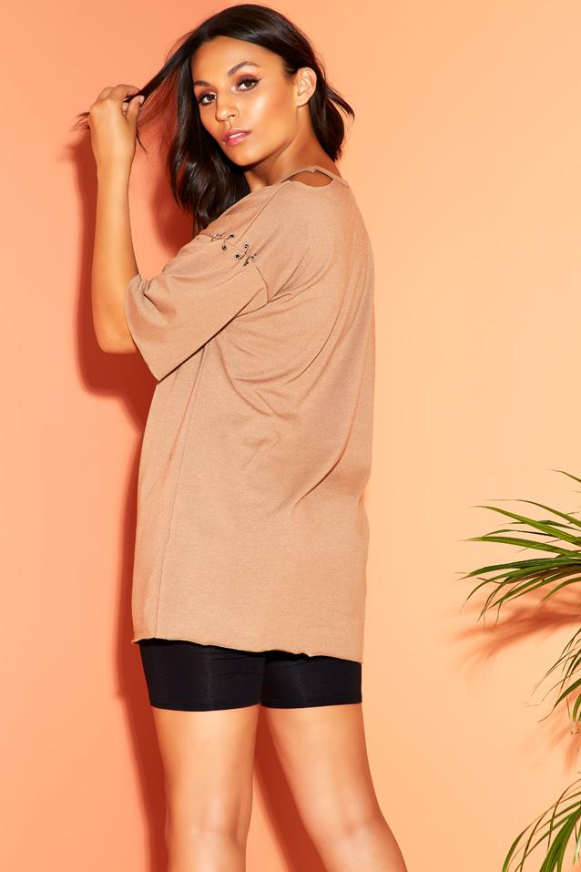 Camel Eyelet And Rings Sweat Top