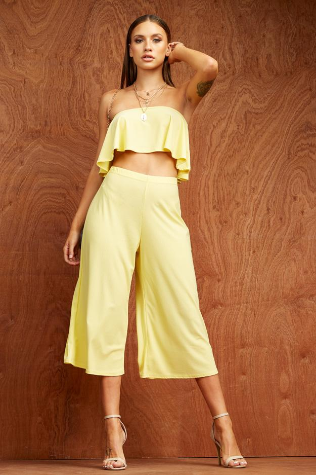 Yellow Crop Swing Bandeau