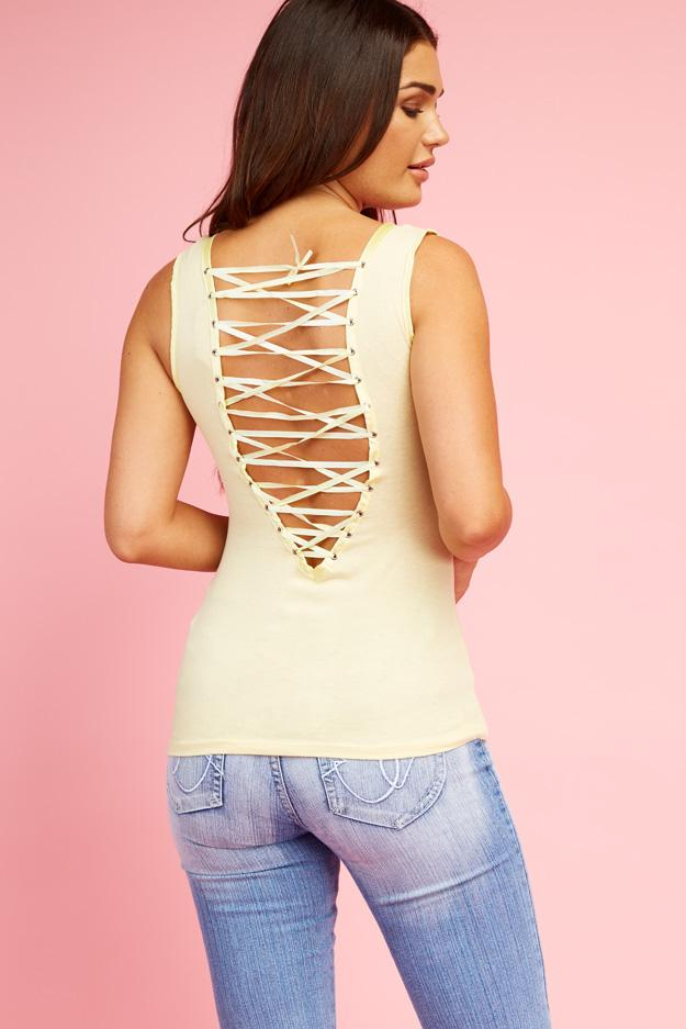 Yellow Lace Up Back Vest Top