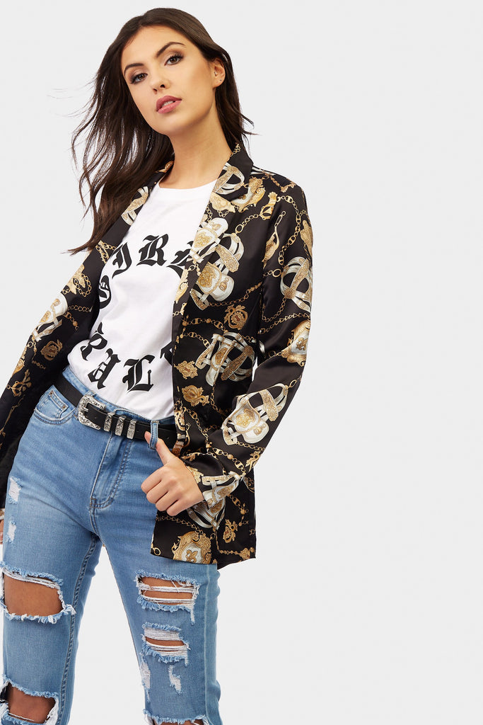 Black Chain Print Long Line Blazer