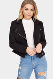 Black Jacquard Crop Biker Jacket