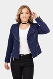 Blue Cropped Jacquard Biker Jacket