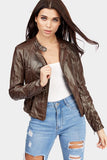 Brown Cropped Biker Jacket
