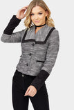 Black Contrast Jacquard Crop Jacket