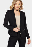 Black Pu Collar Fitted Jacket