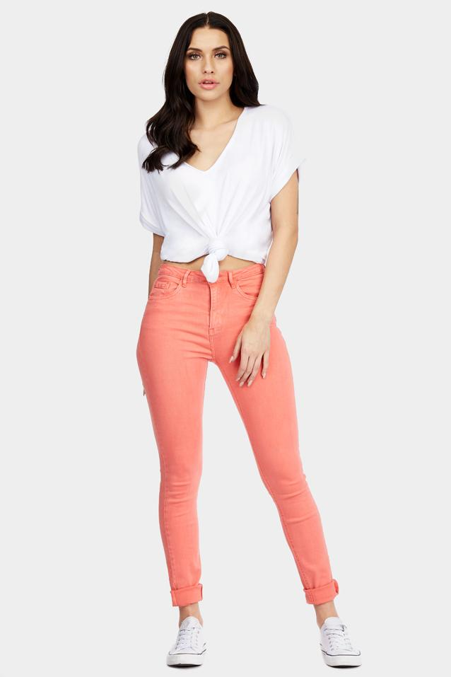 Coral Basic Button Fly Jeans