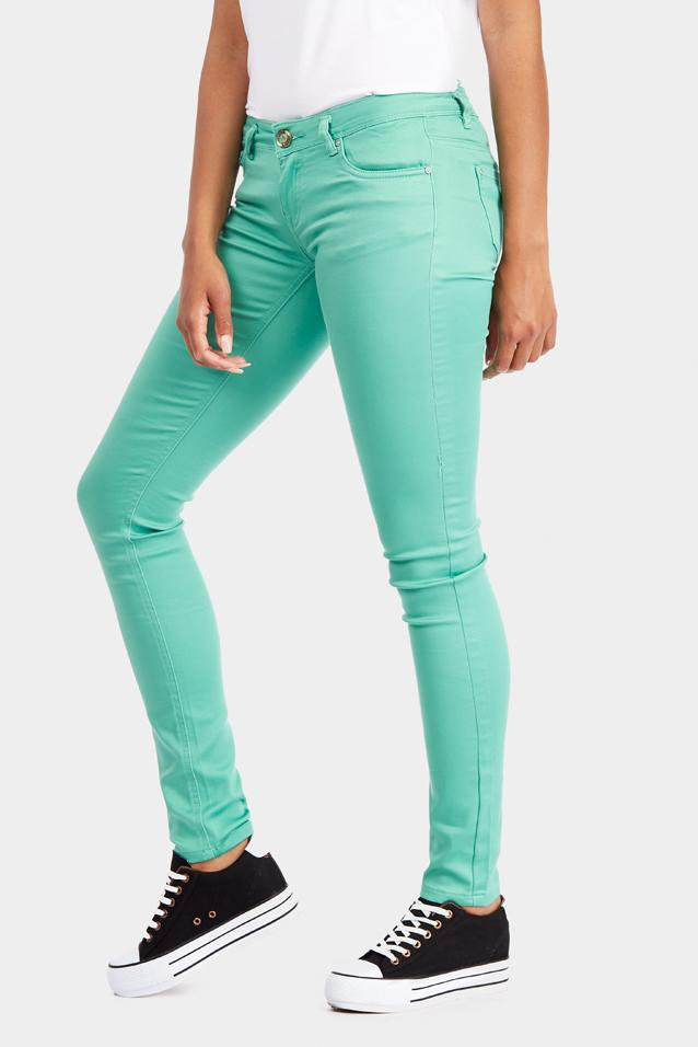 Green Skinny Low Rise Jeans