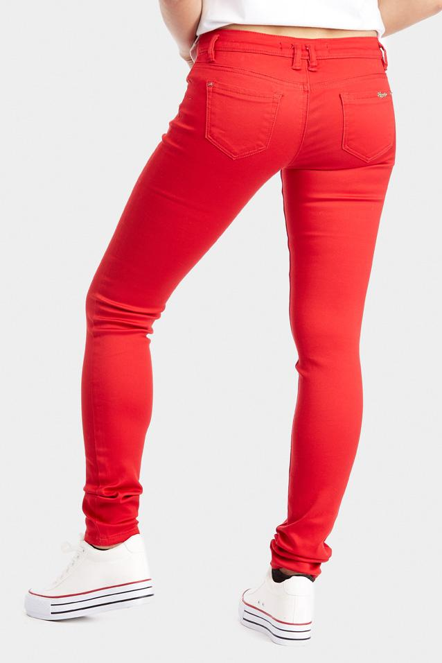Red Skinny Low Rise Jeans