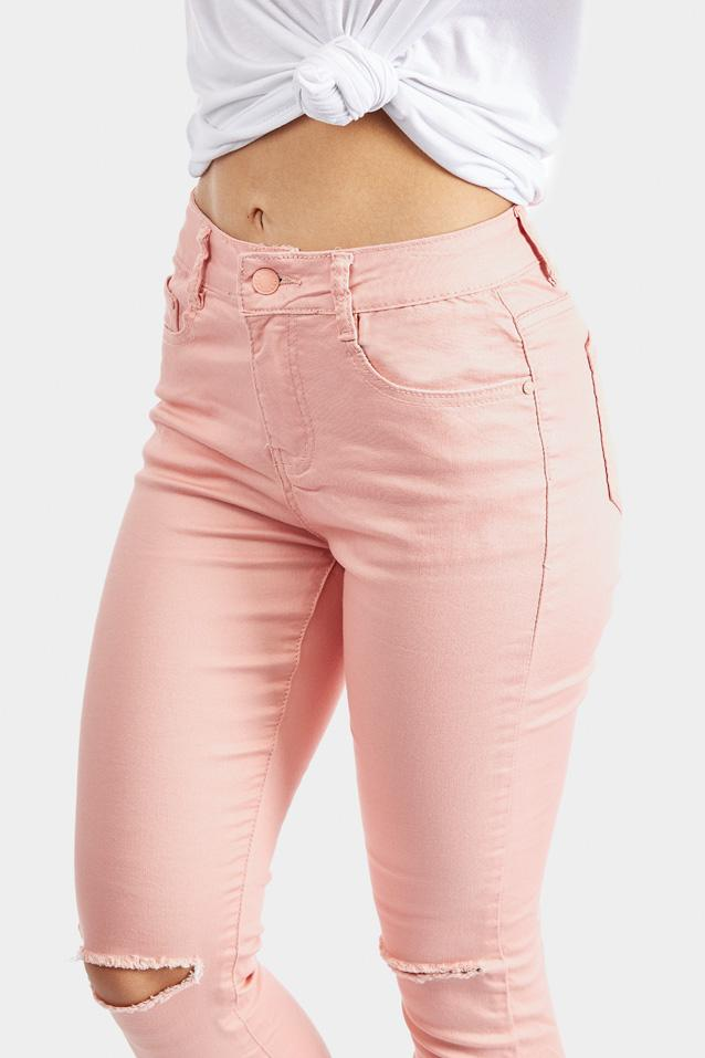 Pink Ripped Knee Skinny Jeans