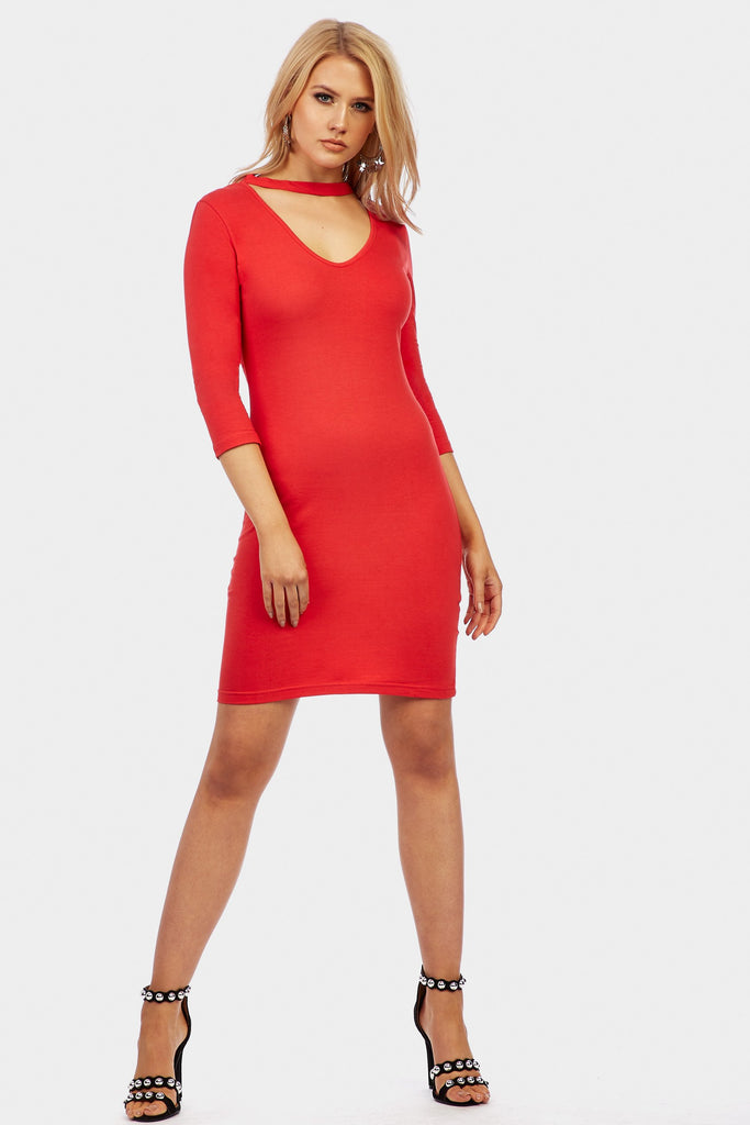 Red Choker Neck Mini Dress