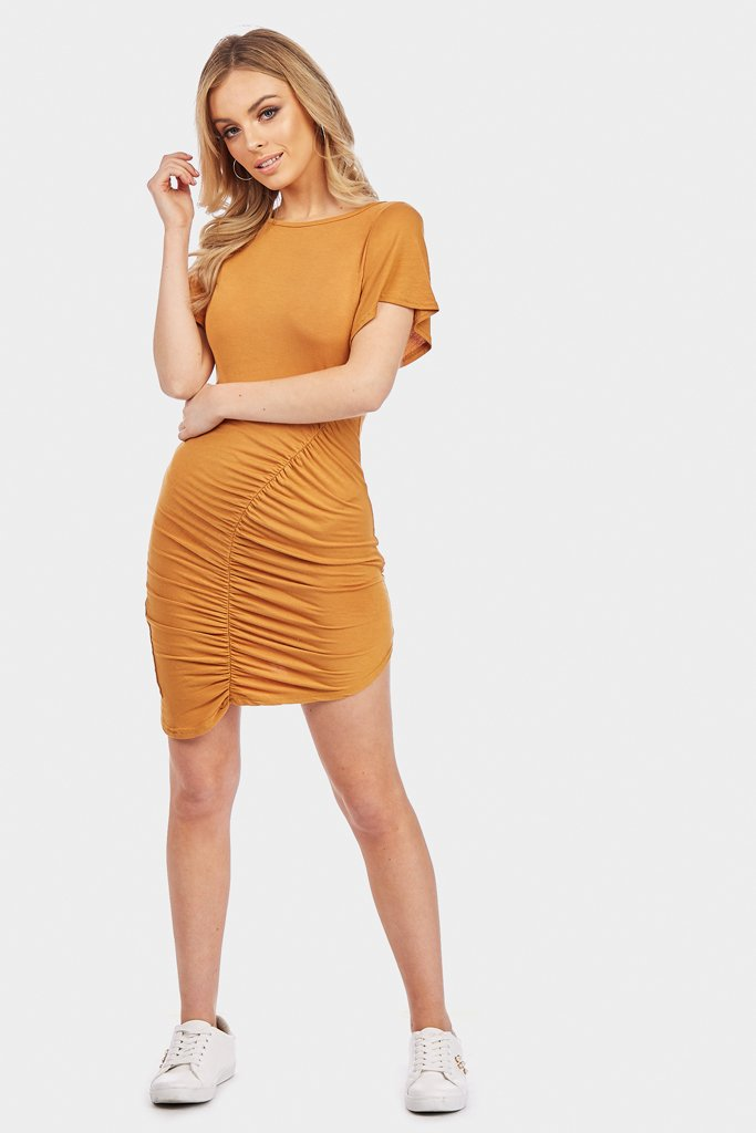 Mustard Ruched Dress