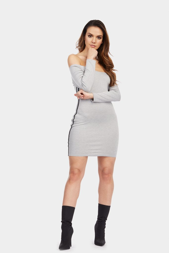 Silver Grey Off Shoulder Sports Trim Dress