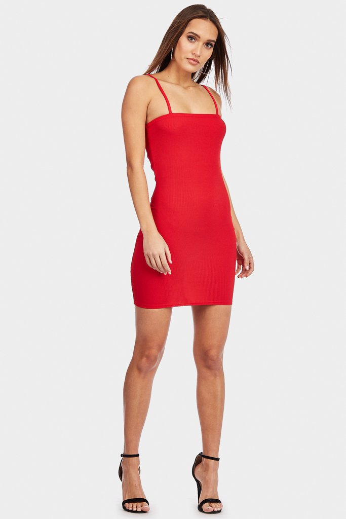 Red Square Neck Mini Bodycon Dress