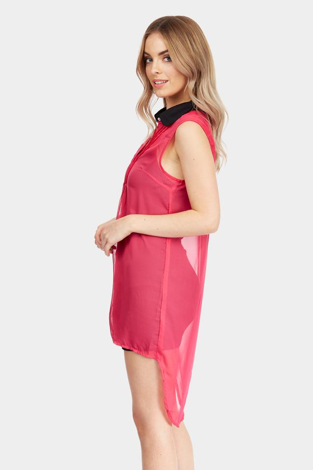 Pink Collared Chiffon Shirt Dress