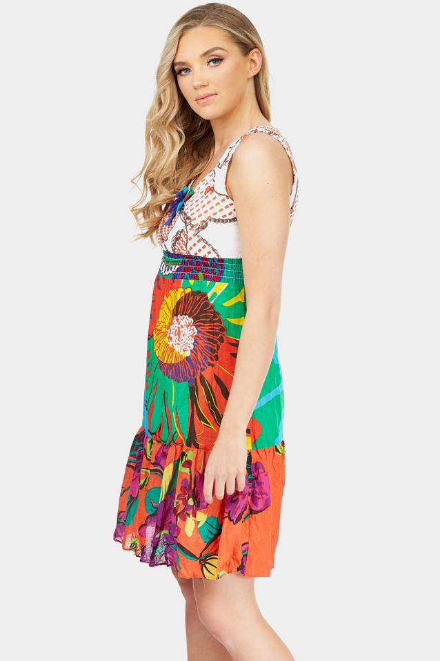 Multi Abstract Printed A-Line Mini Dress