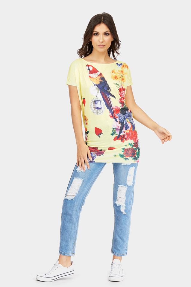 Yellow Parrot Printed T-Shirt Dress