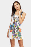 White Graphic Print Dress With Necklace Trim