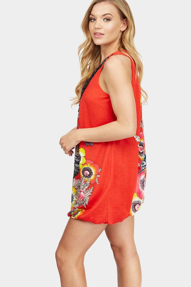 Red Graphic Print Dress With Necklace Trim