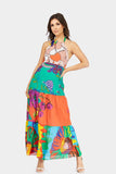 Multi Halterneck Printed Maxi Dress