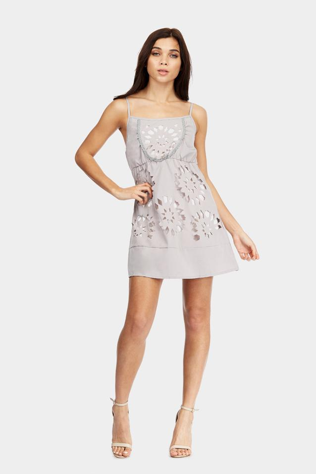 Grey Strappy Laser Cut Skater Dress