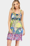 Multi Printed Chiffon Dress With Ruffle Detail Straps
