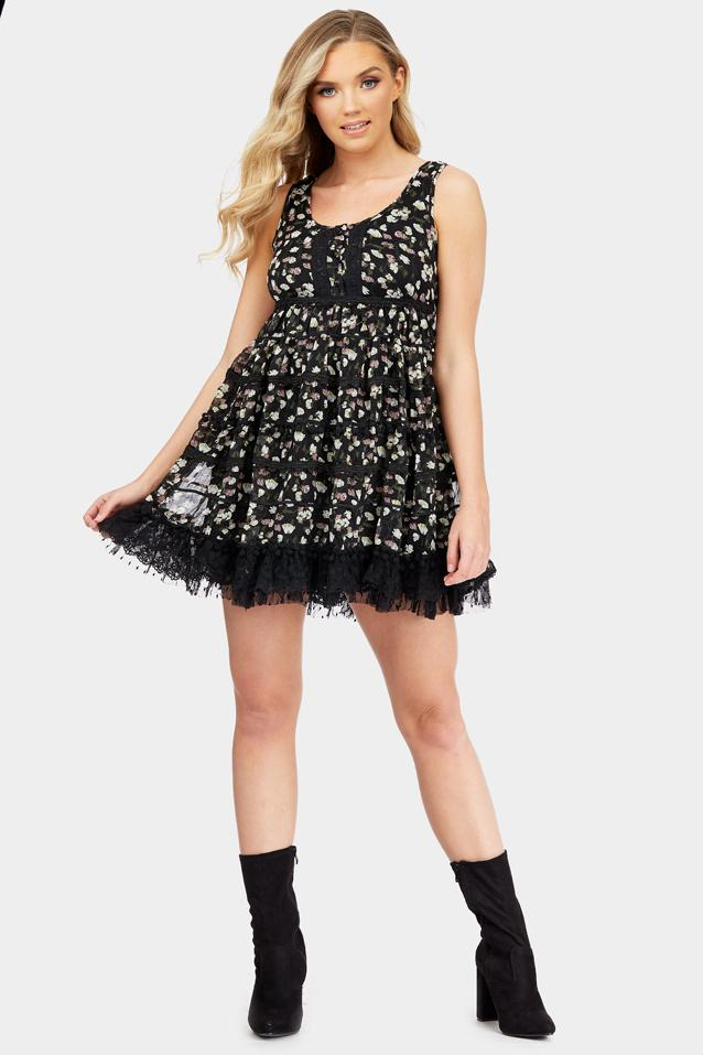 Black Ditsy Print A-Line Dress With Trim Detail