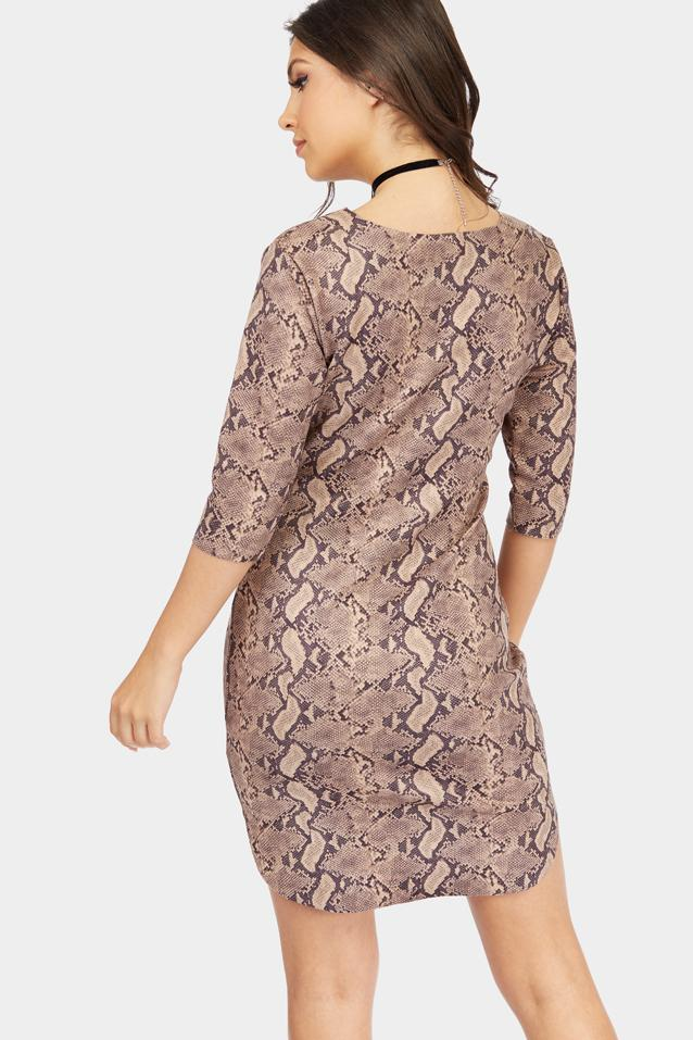 snake-print-curved-hem-mini-dress