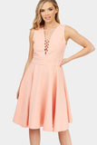 Pink Tie Up Detail Skater Dress
