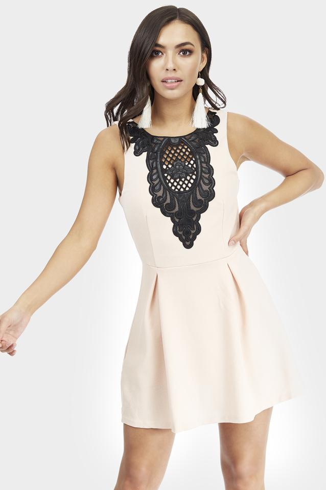 Nude Pu Floral Lace Detail Skater Dress