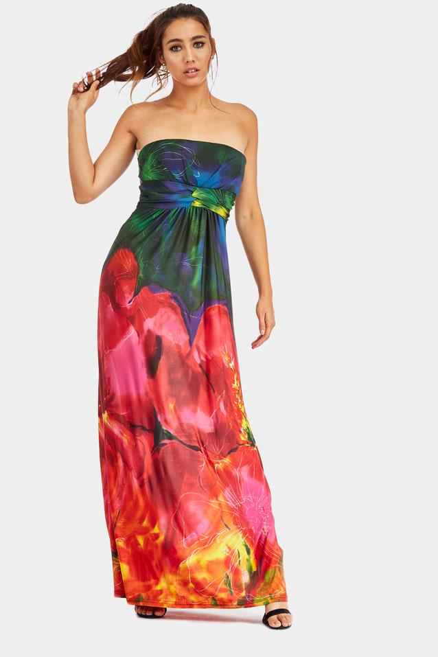 Red Printed Bandeau Maxi Dress