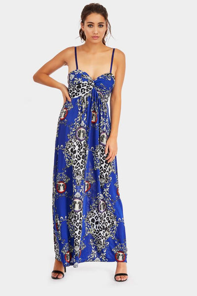 Royal Strappy Baroque Print Maxi Dress