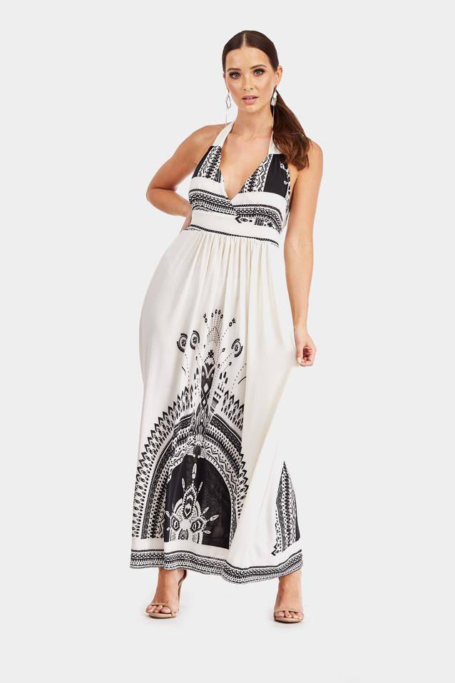 White Halterneck Printed Maxi Dress