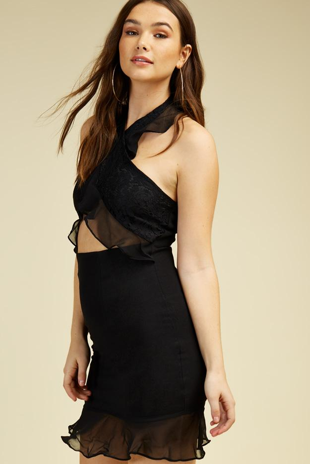 lace-halterneck-cut-out-frill-dress view 3