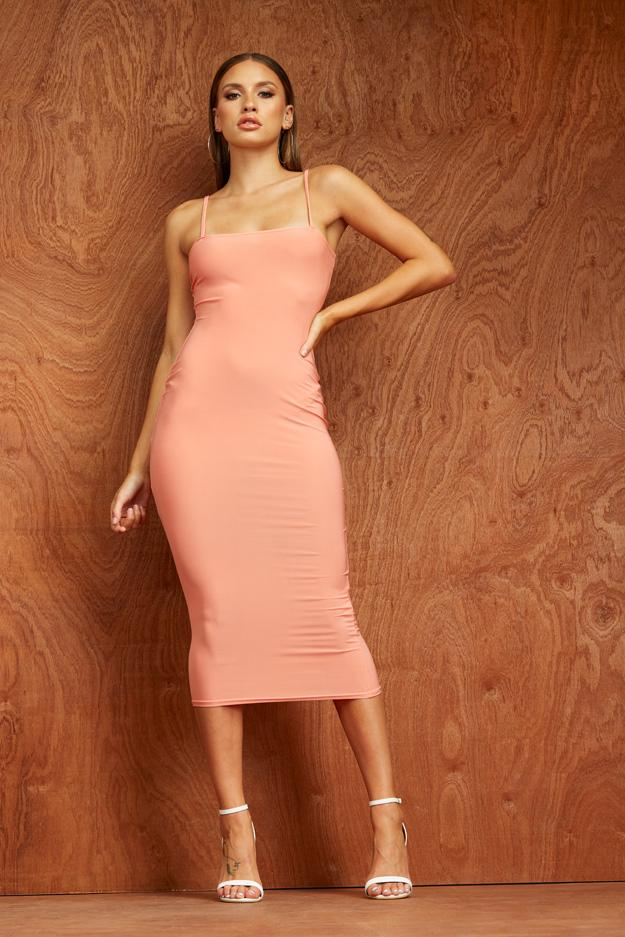 Papaya Slinky Square Neck Midi Dress