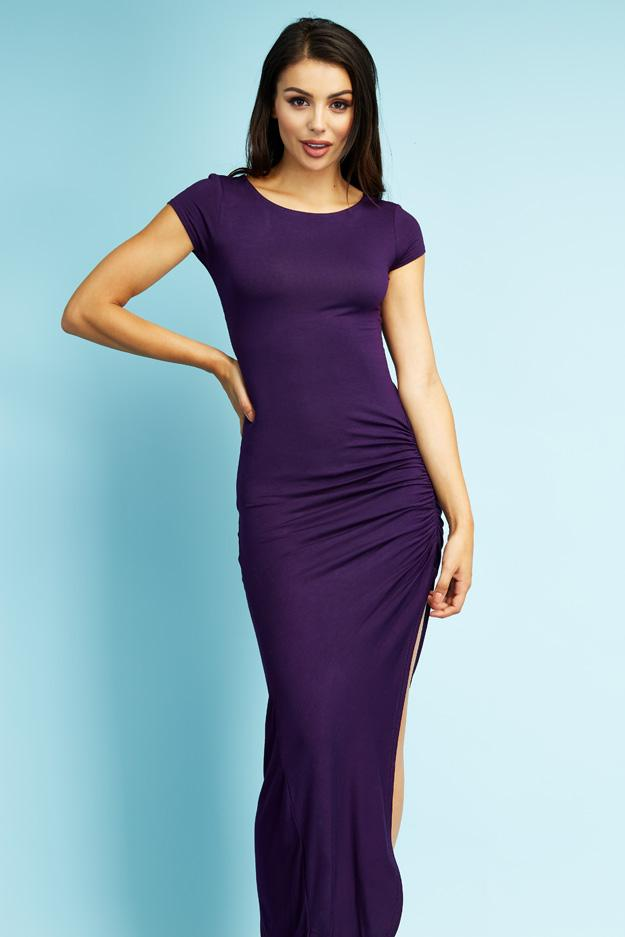 Purple Ruched Maxi Dress