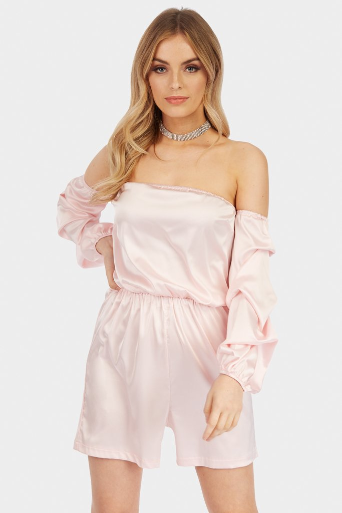 Power Pink Puff Sleeve Bardot Satin Playsuit