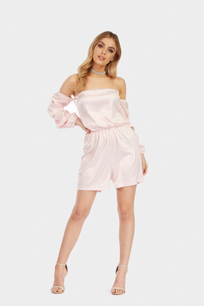 Power Pink Puff Sleeve Bardot Satin Playsuit view 2