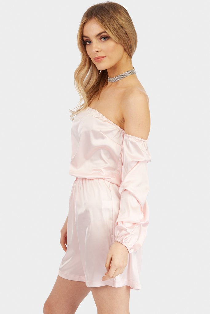 Power Pink Puff Sleeve Bardot Satin Playsuit view 4