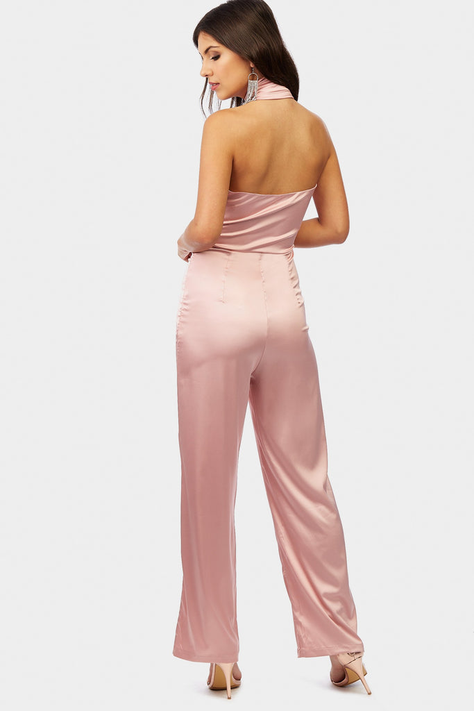 Rose Halter Neck Wrap Front Wide Leg Jumpsuit