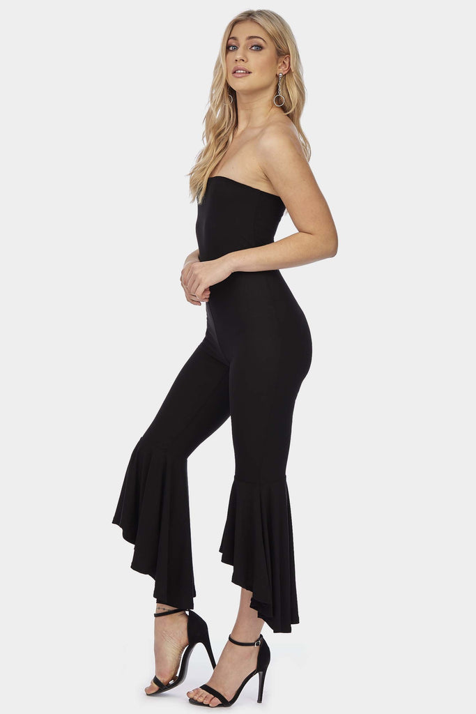 Black Bandeau Flared Leg Jumpsuit