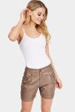 Brown Pu Pleated Shorts