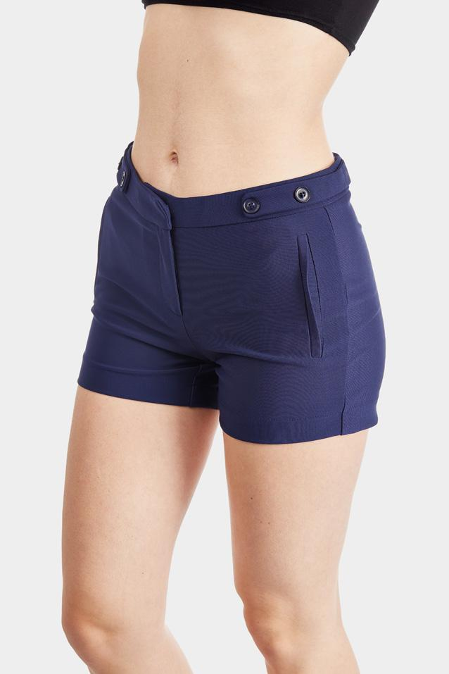 Navy Button Detail Tailored Shorts