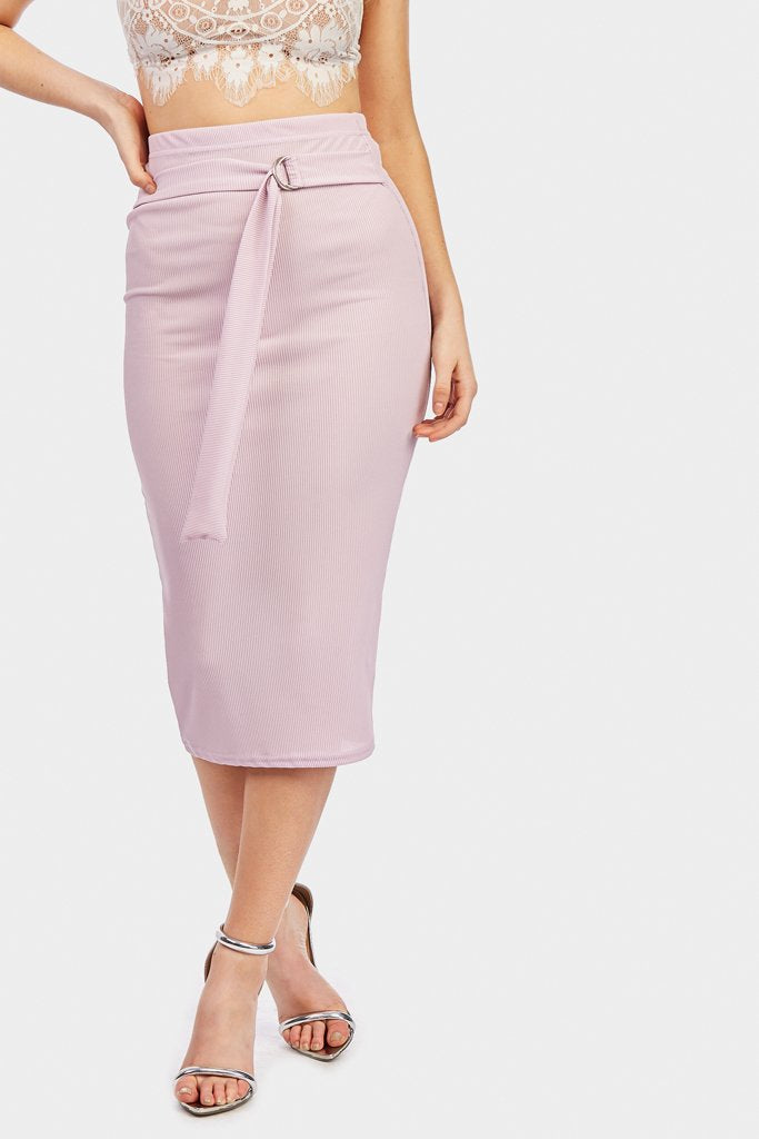 Lilac Belted Midi Skirt
