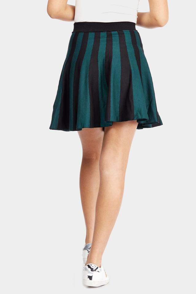 Green Stripe Knitted Skater Skirt