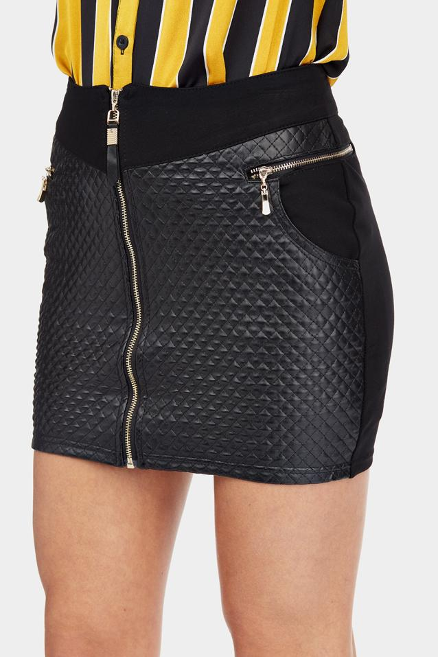 Black Quilted Pu Mini Skirt With Zip Detail