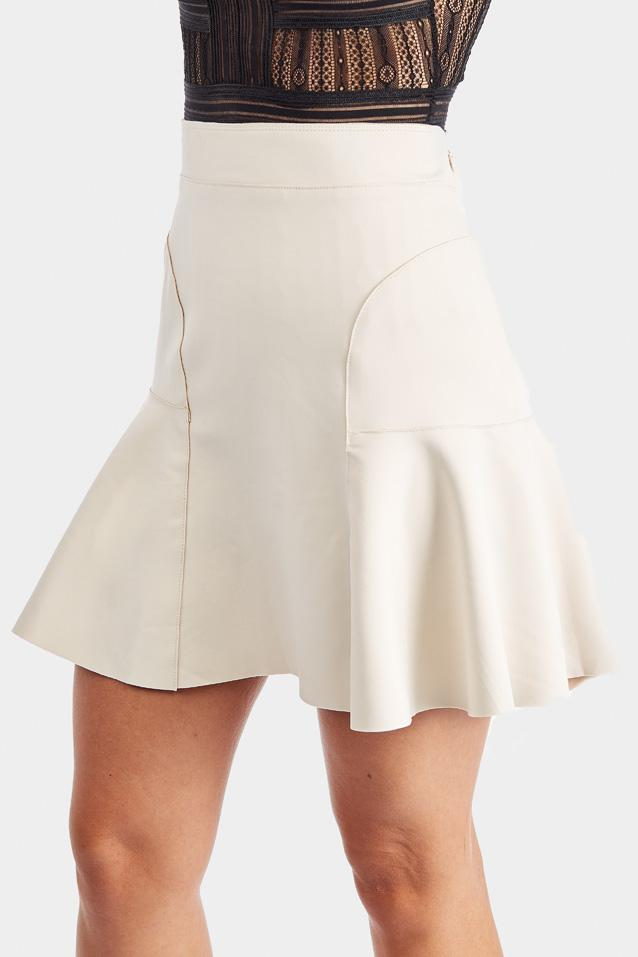 Beige Flippy Hem Mini Skirt