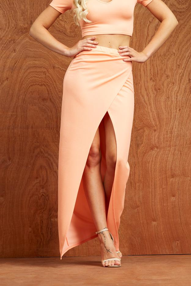 Papaya Split Wrap Over Maxi Skirt
