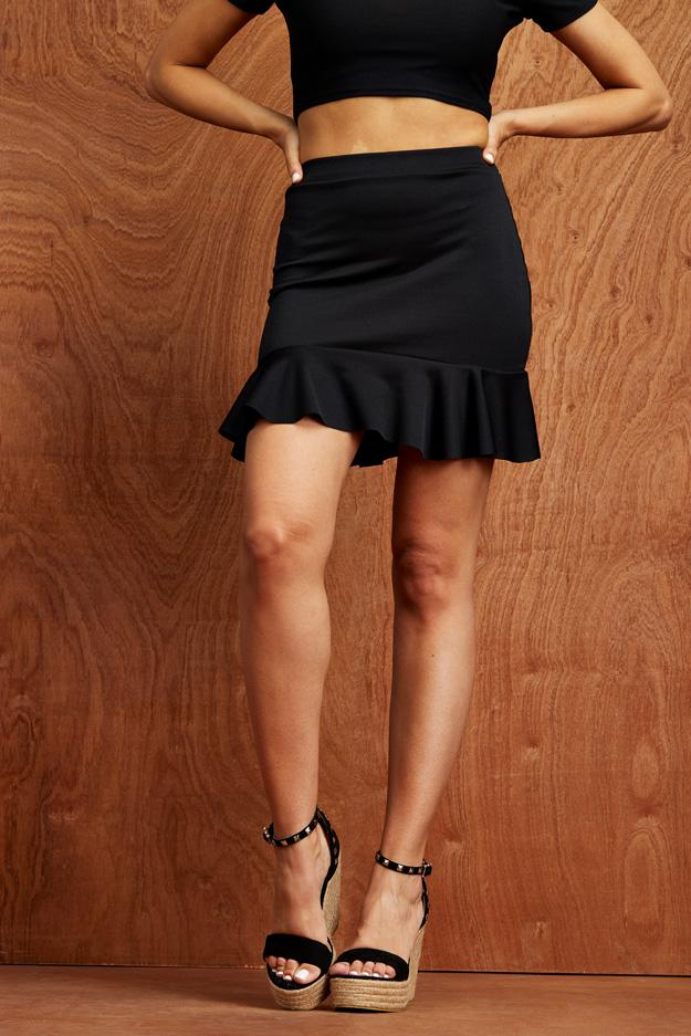 Black Frill Mini Skirt