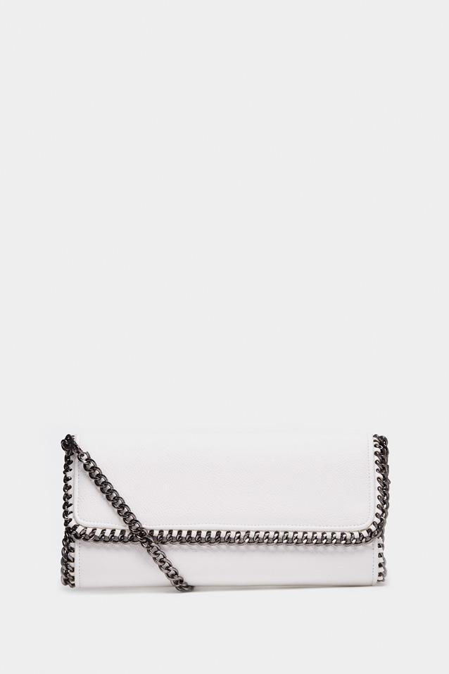 White Textured Chain Shoulder Bag