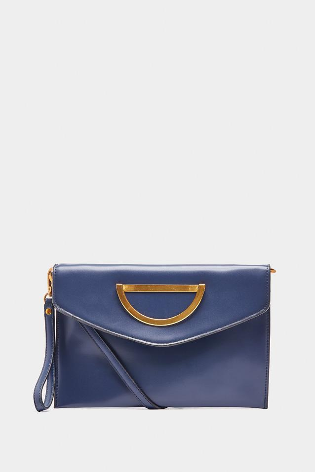 Navy Gold Buckle Cross Body Bag